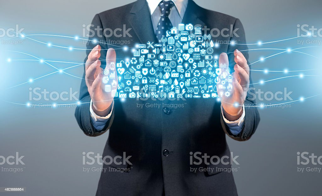 Businessman and cloud computing shape with services, icons and activities stock photo