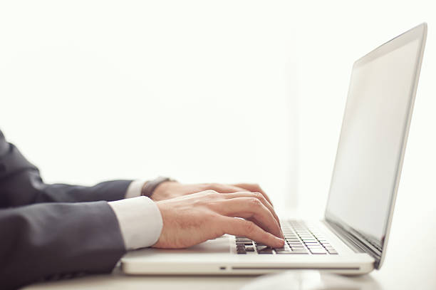 Businessman and Computer stock photo