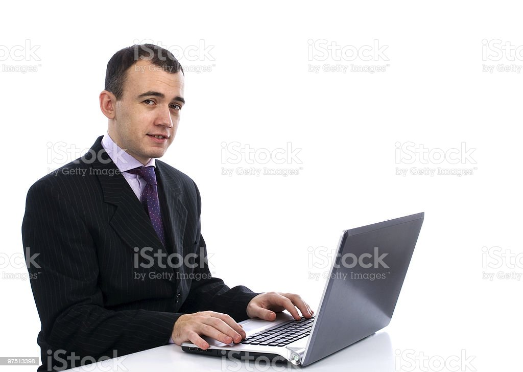 Businessman and Computer royalty-free stock photo