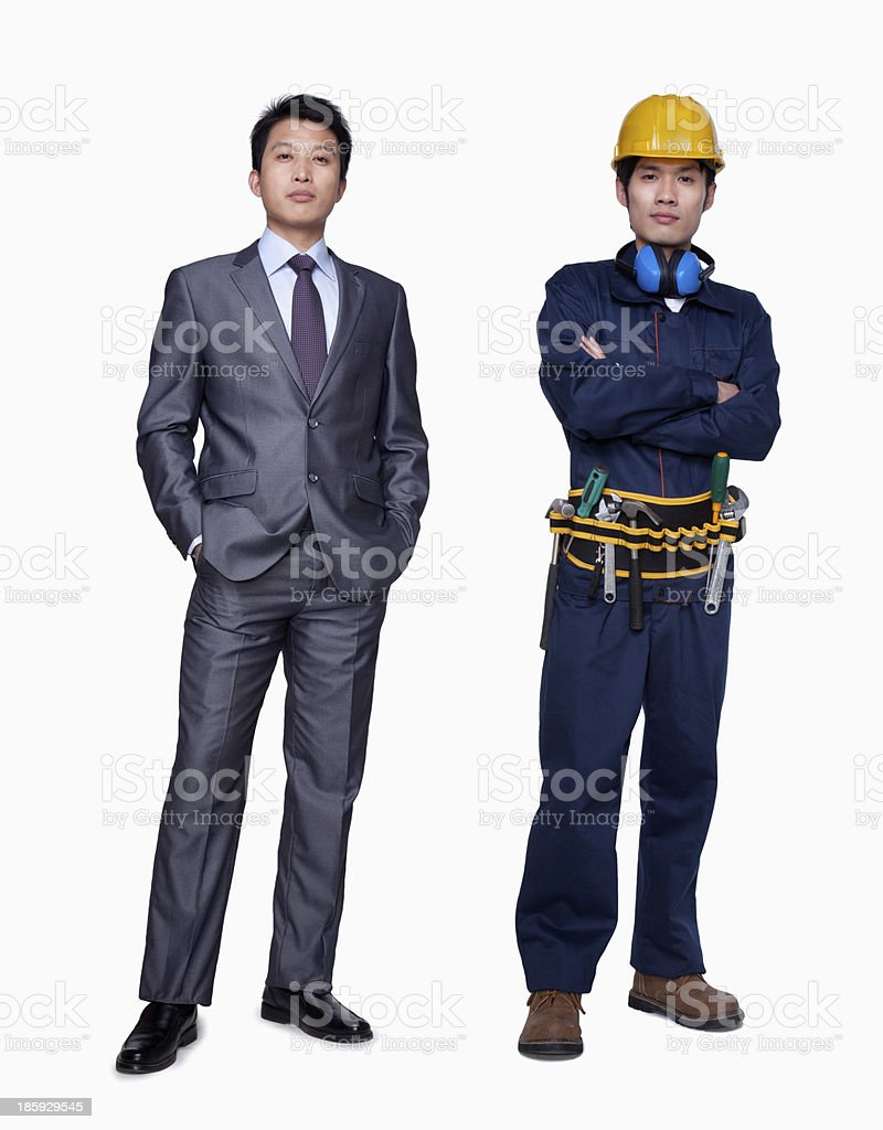 Businessman and construction worker royalty-free stock photo