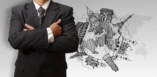 businessman and dream travel around the world圖像檔