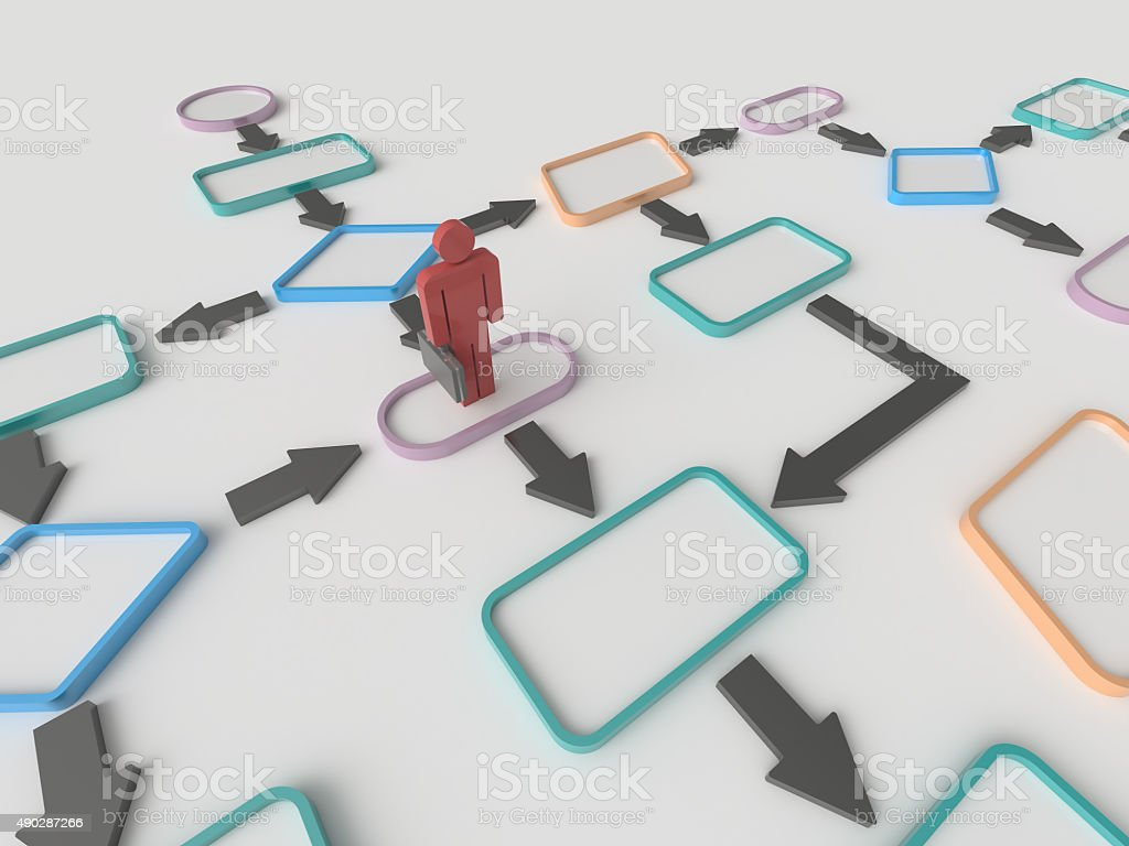 Businessman and Flow Chart Diagram Concept stock photo