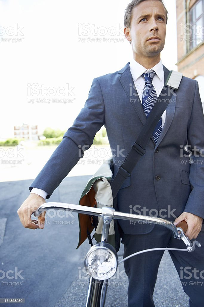 Businessman and his bike royalty-free stock photo