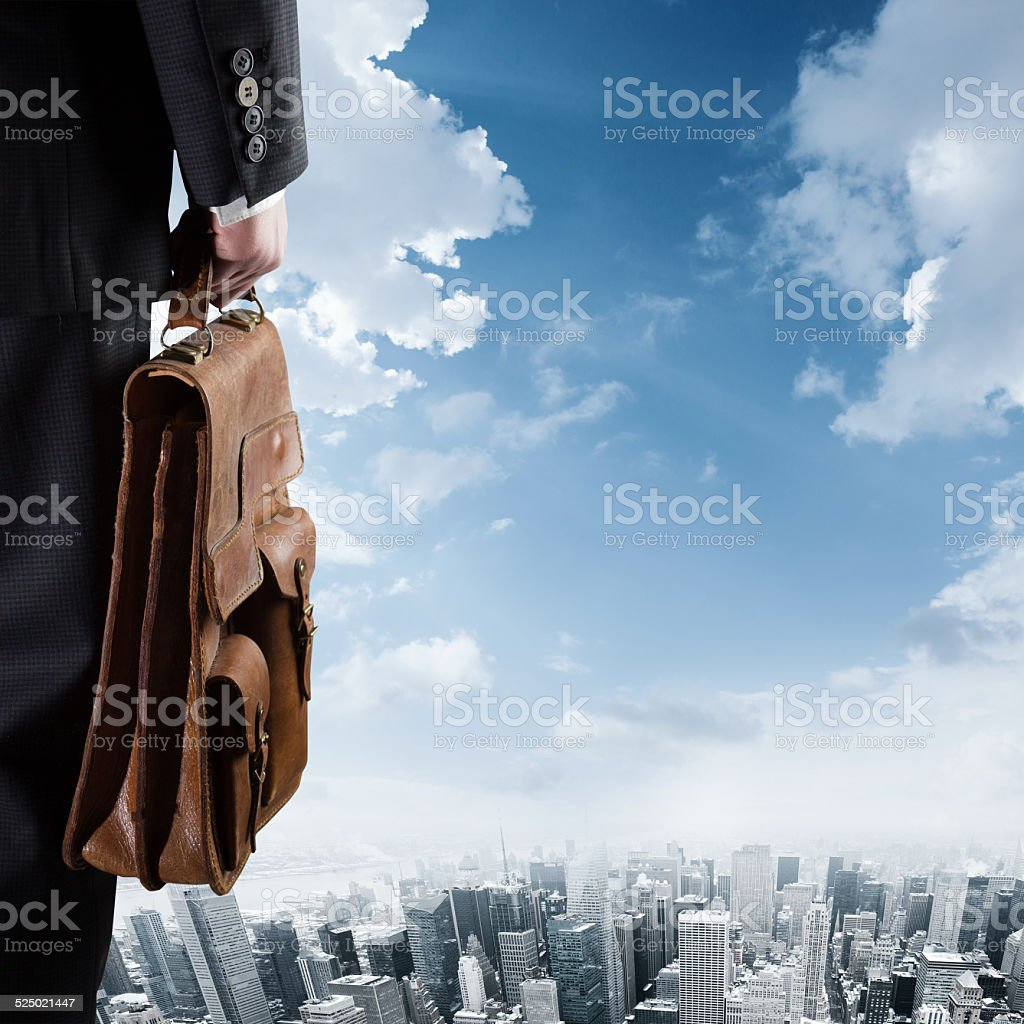 Businessman and his case stock photo