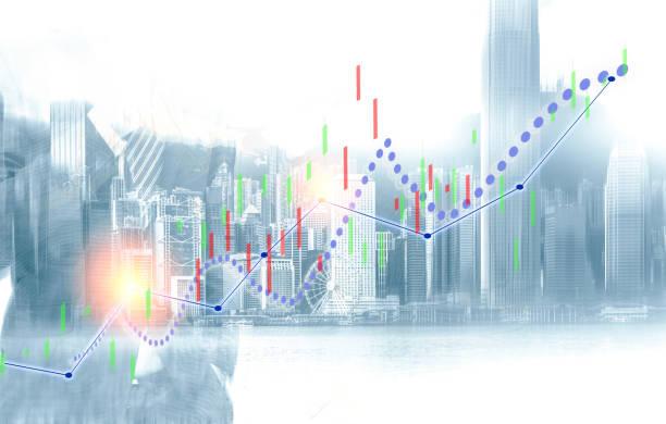 사업 및 홍콩 도시 배경에 파란색 불 차트 보기. 이중 노출 - double exposure 뉴스 사진 이미지