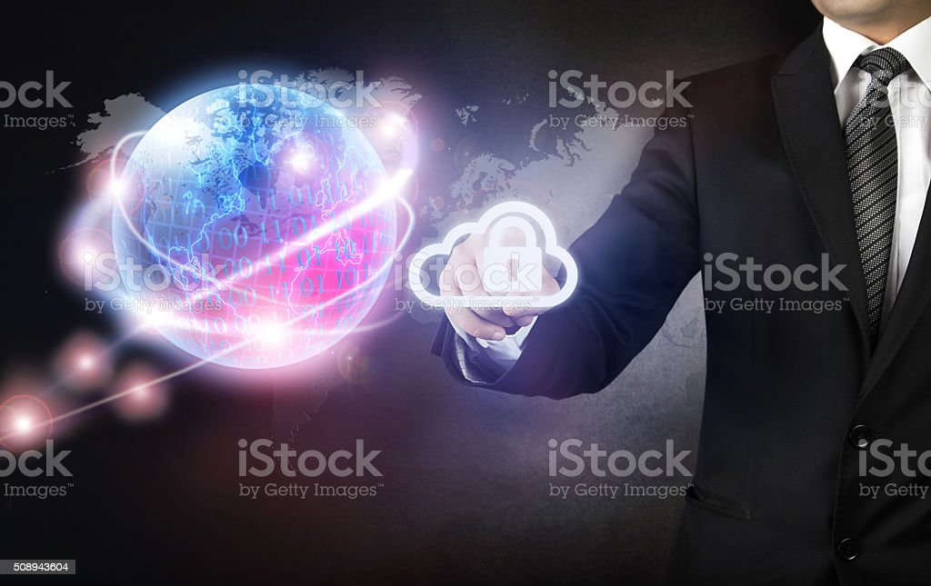 Businessman and Internet Security concept Cloud and Lock stock photo