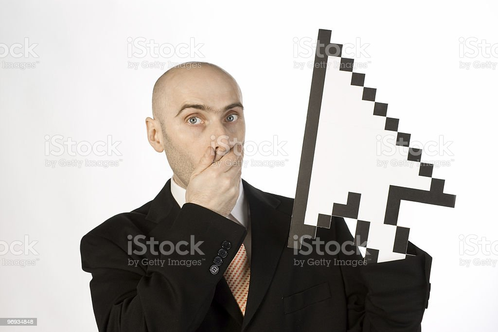 Businessman and mouse pointer royalty-free stock photo