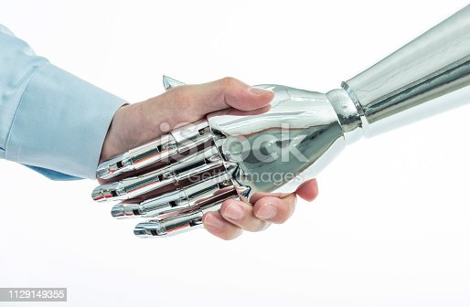 istock Businessman and robot shaking hands on white background 1129149355