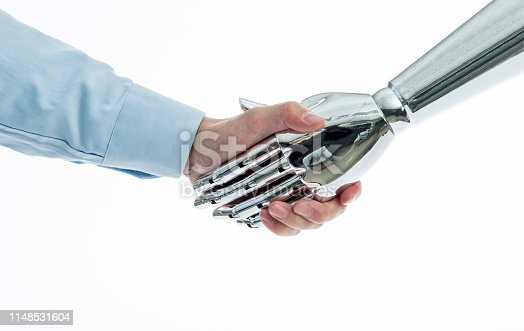 istock Businessman and robot shaking hands on white background 1148531604