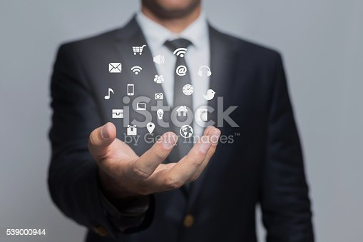 istock Businessman and social networking concept 539000944