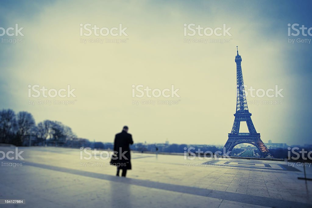Businessman and Tour Eiffel from Trocadero royalty-free stock photo
