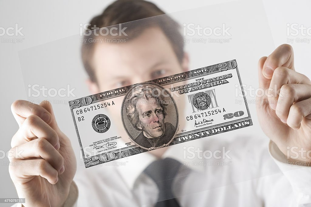 Businessman and transparency sheet royalty-free stock photo