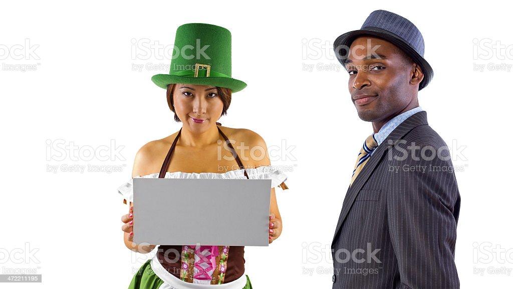 Businessman and Waitress on Sant Patricks Day stock photo
