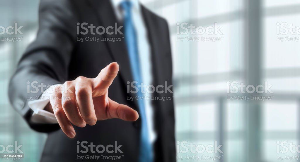 Businessman and whiteboard concept stock photo