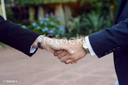 656005826istockphoto Businessman and woman shake hands after a business meeting 1173002815