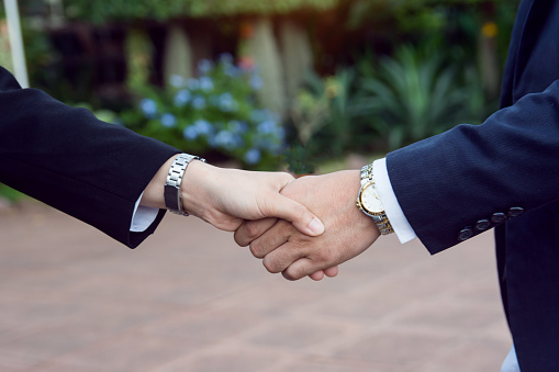 656005826 istock photo Businessman and woman shake hands after a business meeting 1173002815