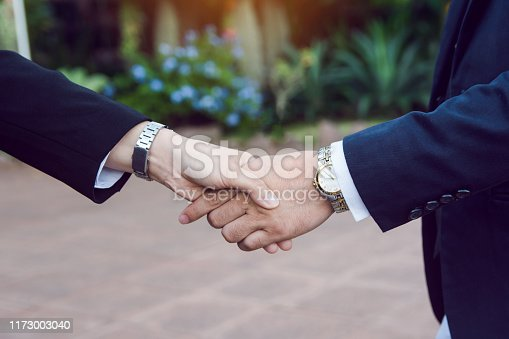 656005826istockphoto Businessman and woman shake hands after a business meeting 1173003040