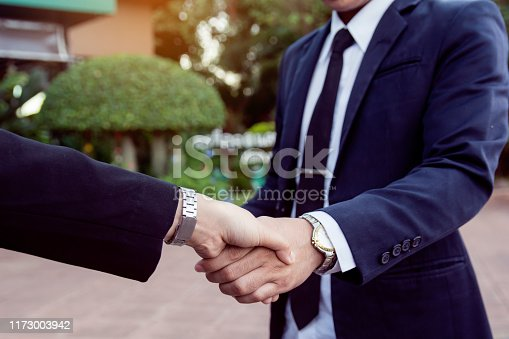 656005826istockphoto Businessman and woman shake hands after a business meeting 1173003942