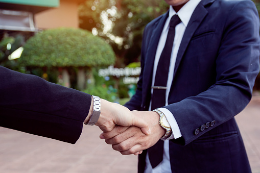 656005826 istock photo Businessman and woman shake hands after a business meeting 1173003942