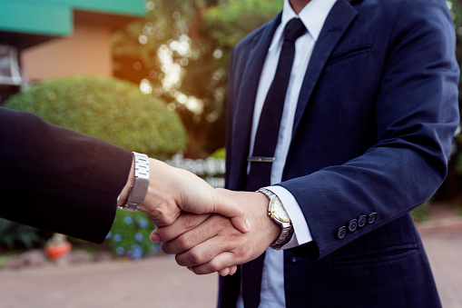 656005826 istock photo Businessman and woman shake hands after a business meeting 1173004340