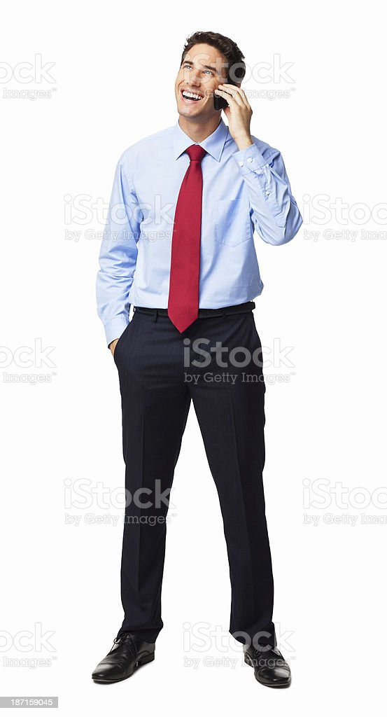 Businessman Answering A Phone Call - Isolated royalty-free stock photo