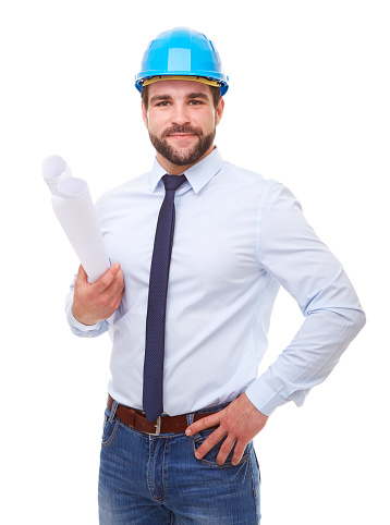 istock Businessman architect with hard hat and plan 545086590