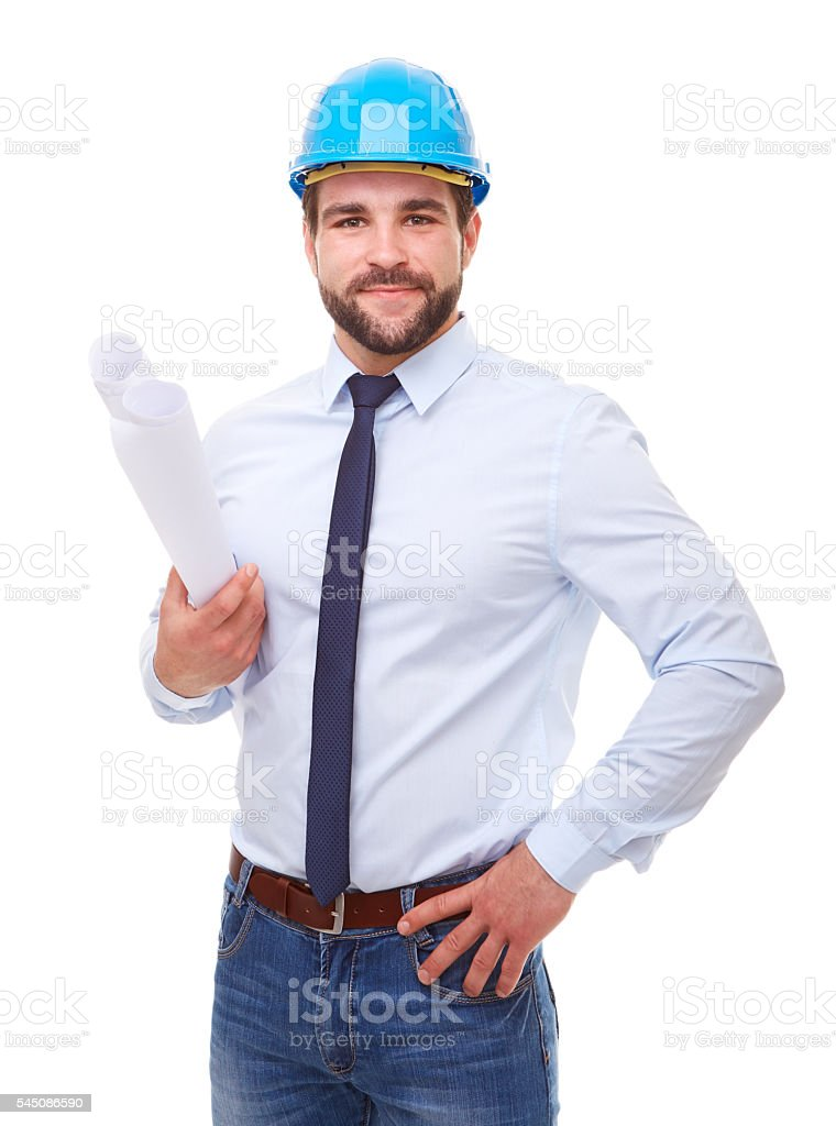 Businessman architect with hard hat and plan stock photo