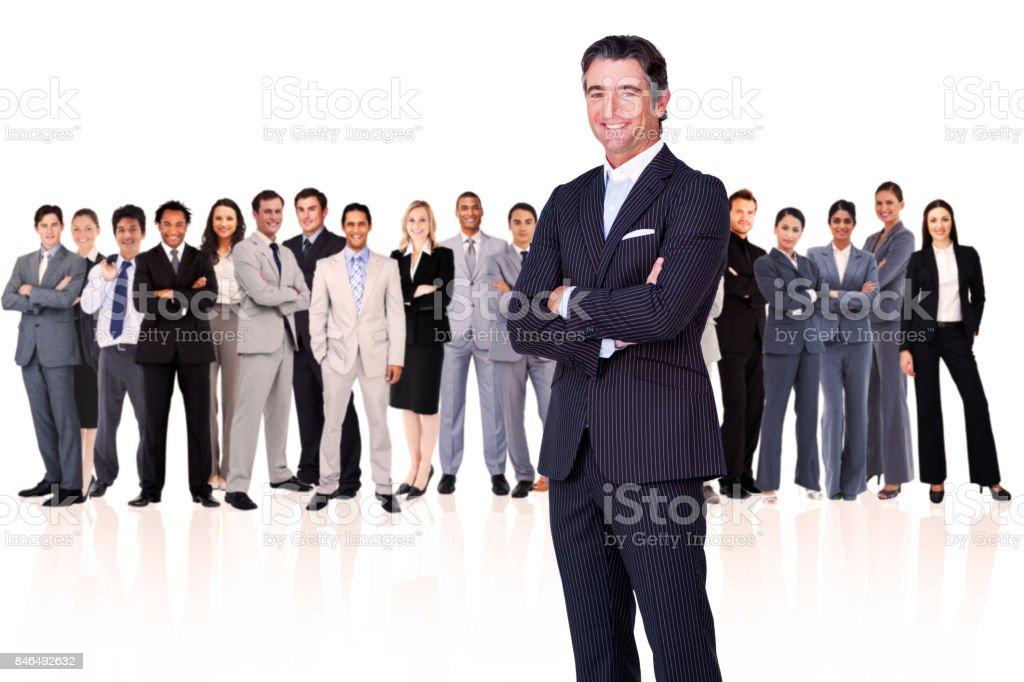 Businessman arms crossed stock photo