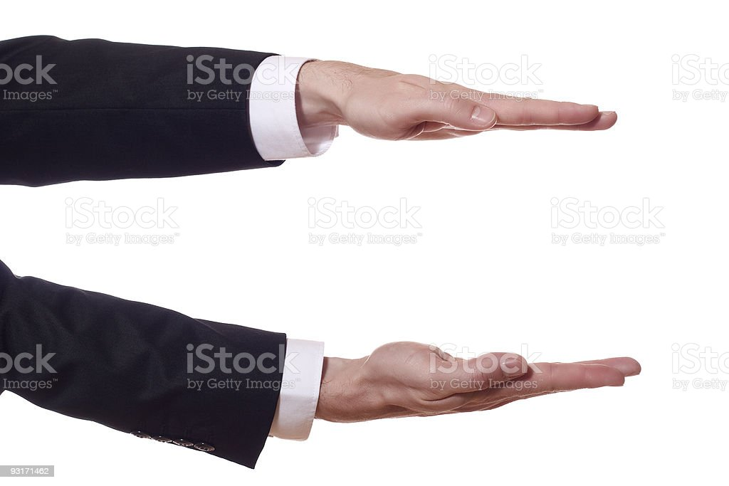 businessman arms shows the height royalty-free stock photo