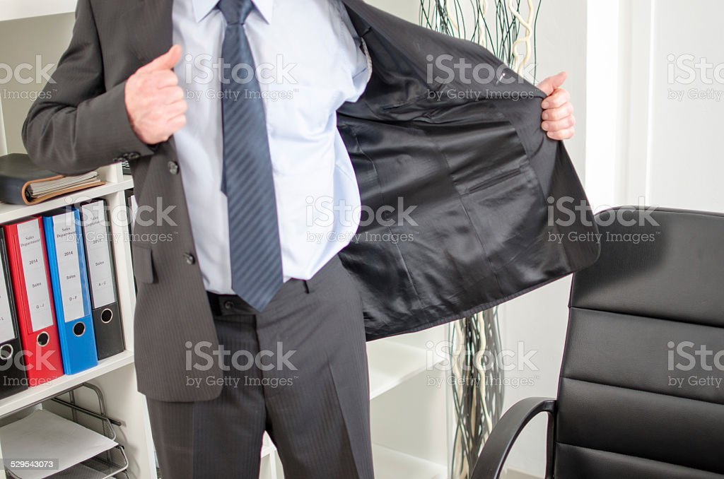 Businessman arriving at office stock photo