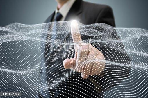 Businessman artificial intelligence internet network security big data