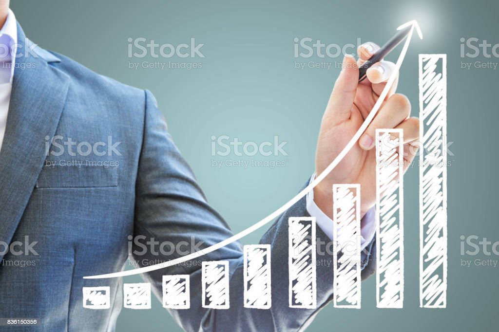 businessman asian genius guide stock exchange use pen black drawing graph red line company Success finance business future white isolated stock photo