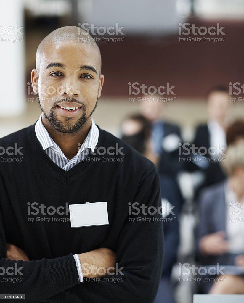 Businessman at a seminar royalty-free stock photo