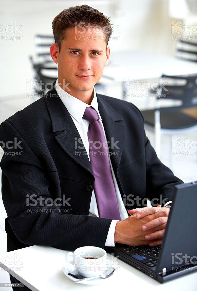 Businessman at an airport restaurent royalty-free stock photo