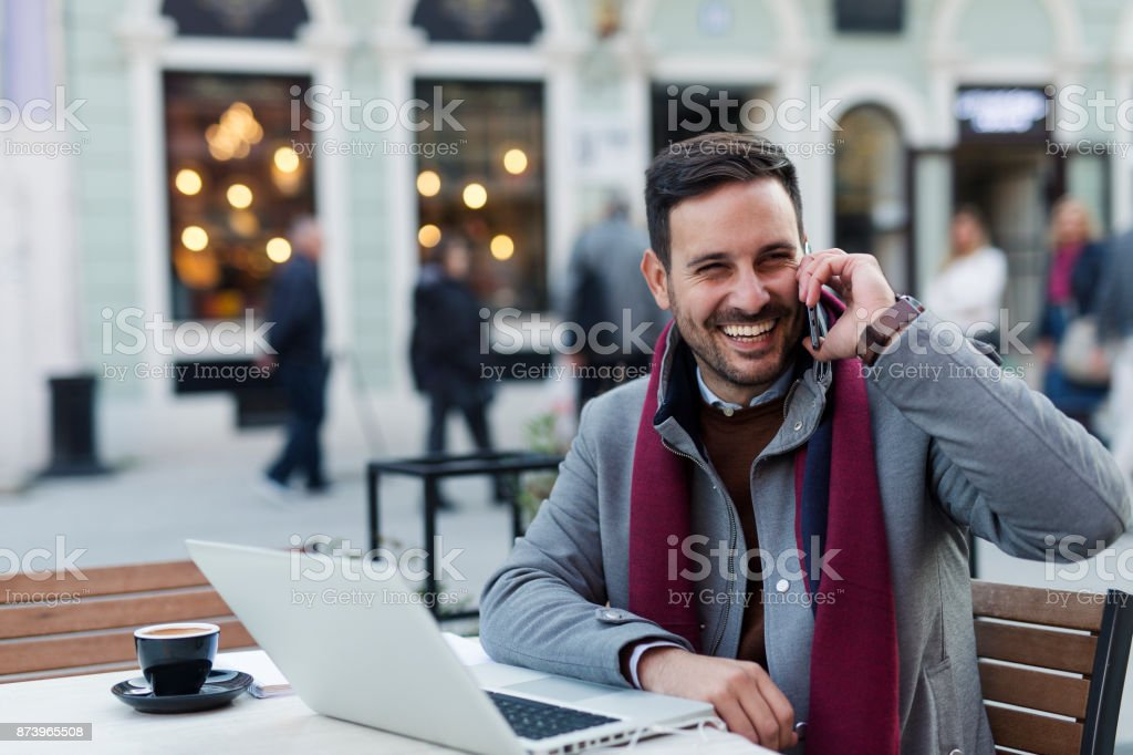 Businessman at coffee shop stock photo
