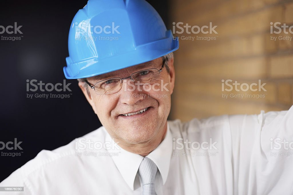 Businessman at construction site royalty-free stock photo