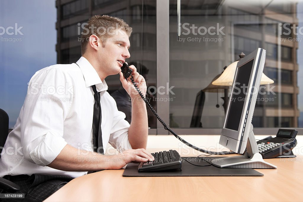 Businessman at His Desk royalty-free stock photo