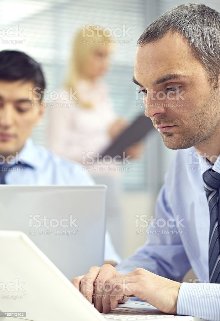 Businessman at laptop royalty-free stock photo