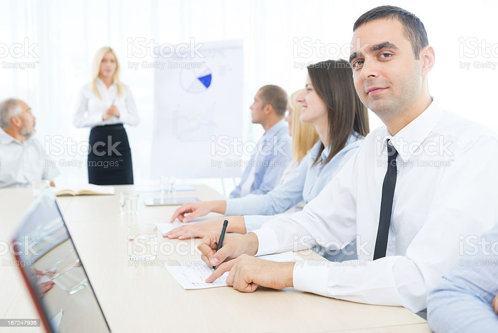 Businessman at office meeting royalty-free stock photo