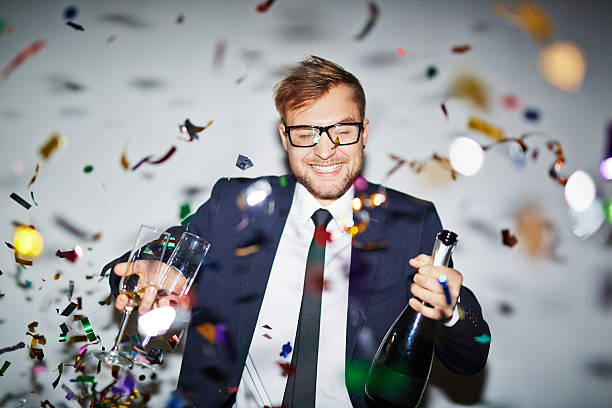 Businessman at party stock photo