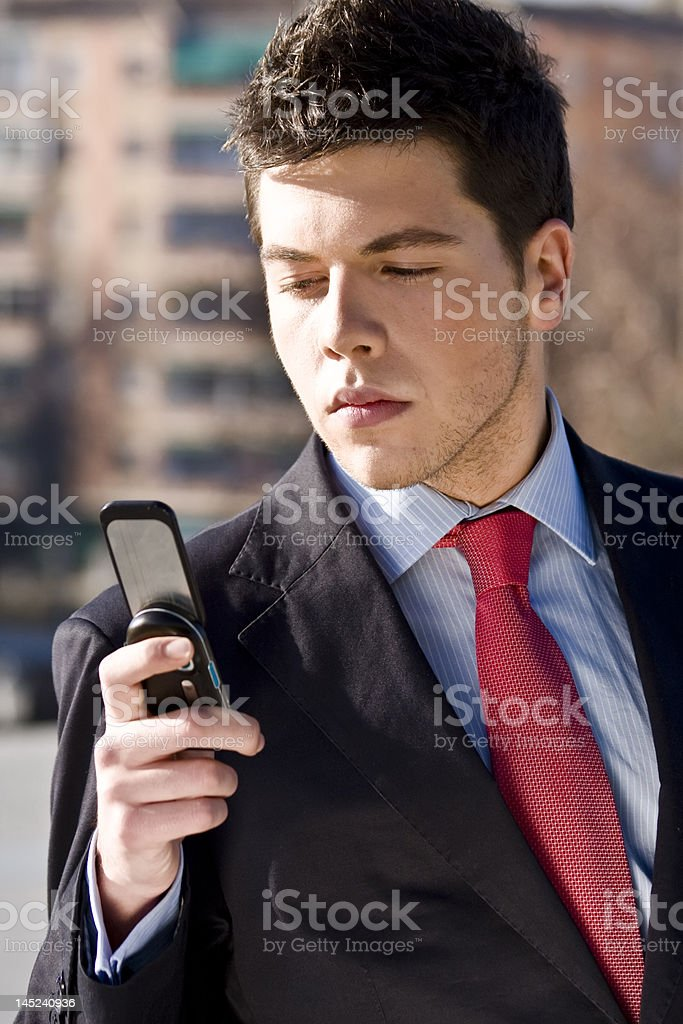 Businessman at phone royalty-free stock photo