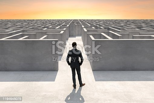 Solution concept with a businessman at the entrance of a complex maze, Digitally Generated Image.