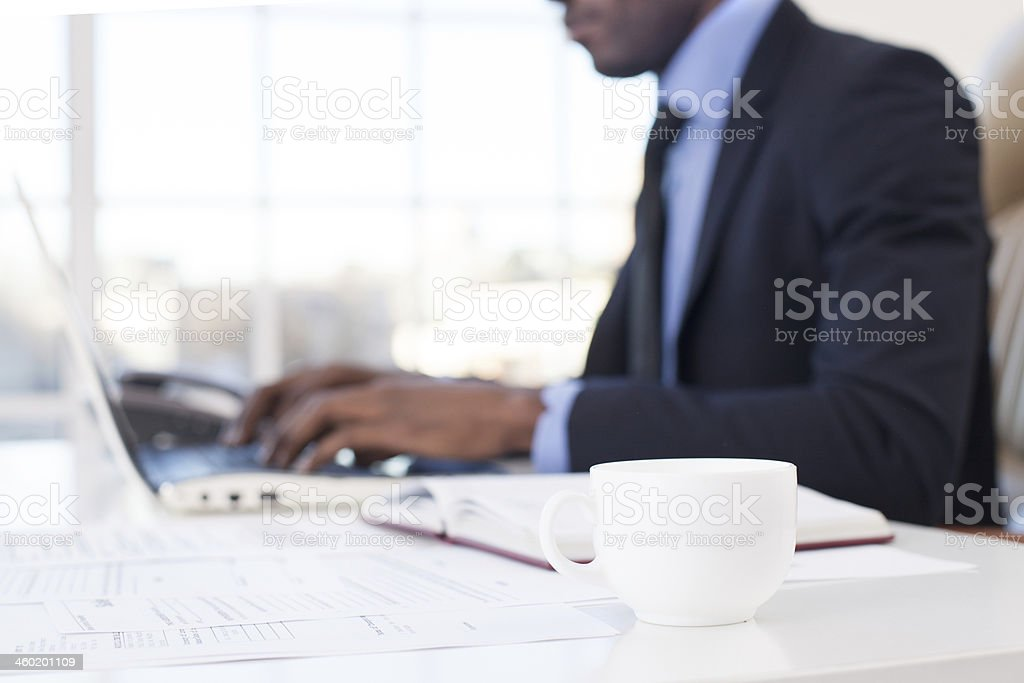 Businessman at work. stock photo