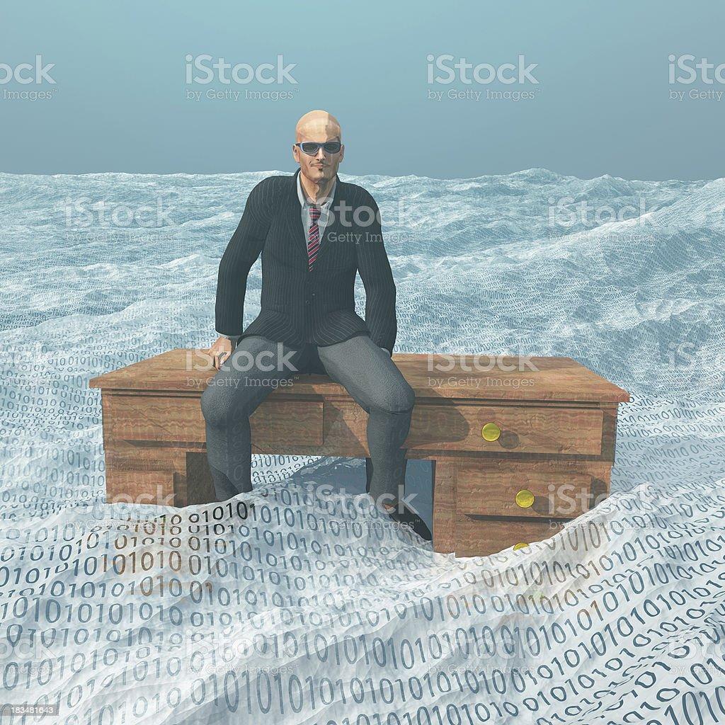 Businessman atop desk afloat on binary ocean stock photo