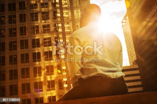 Rear-view photo of an African American businessman looking upward and contemplatively toward a city's skyline bathed in golden sunlight.