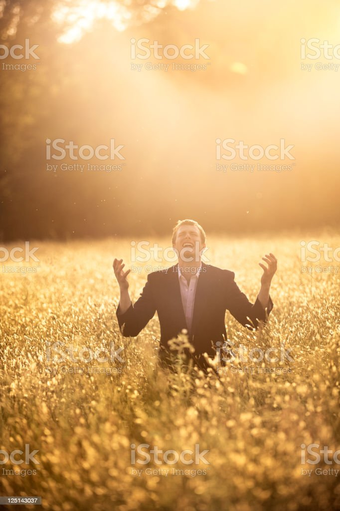 Businessman begging for forgiveness royalty-free stock photo