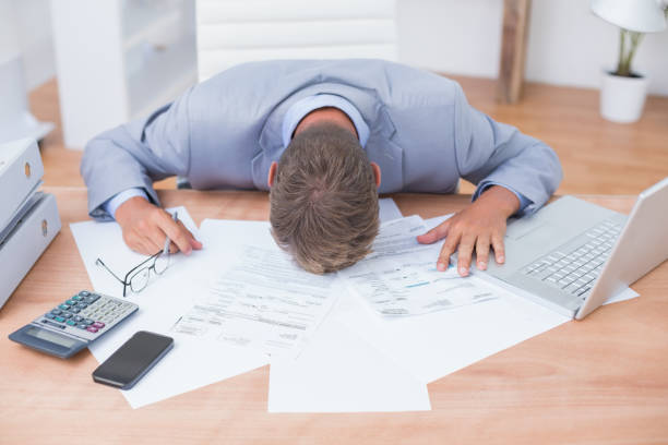 Businessman being depressed by accounting – Foto