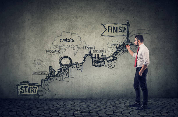 Empresario haciendo una lluvia de ideas sobre todas las posibilidades dibujando un boceto de los riesgos en el camino hacia arriba - foto de stock