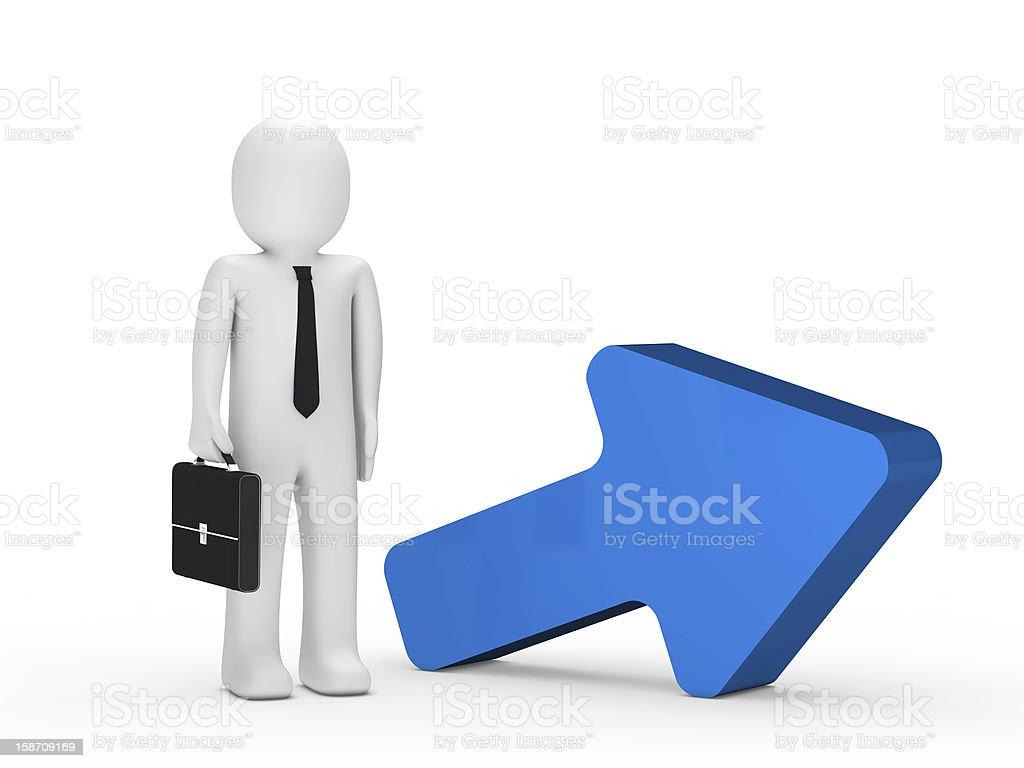 businessman briefcase blue arrow stock photo