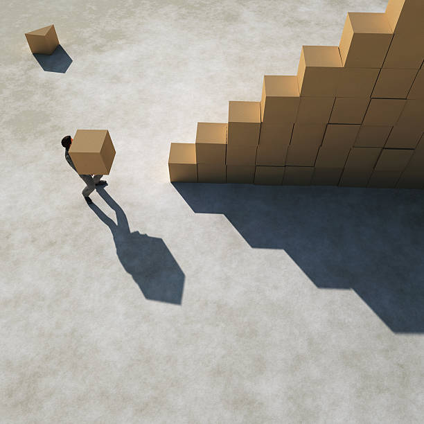 businessman builds a stairs stock photo
